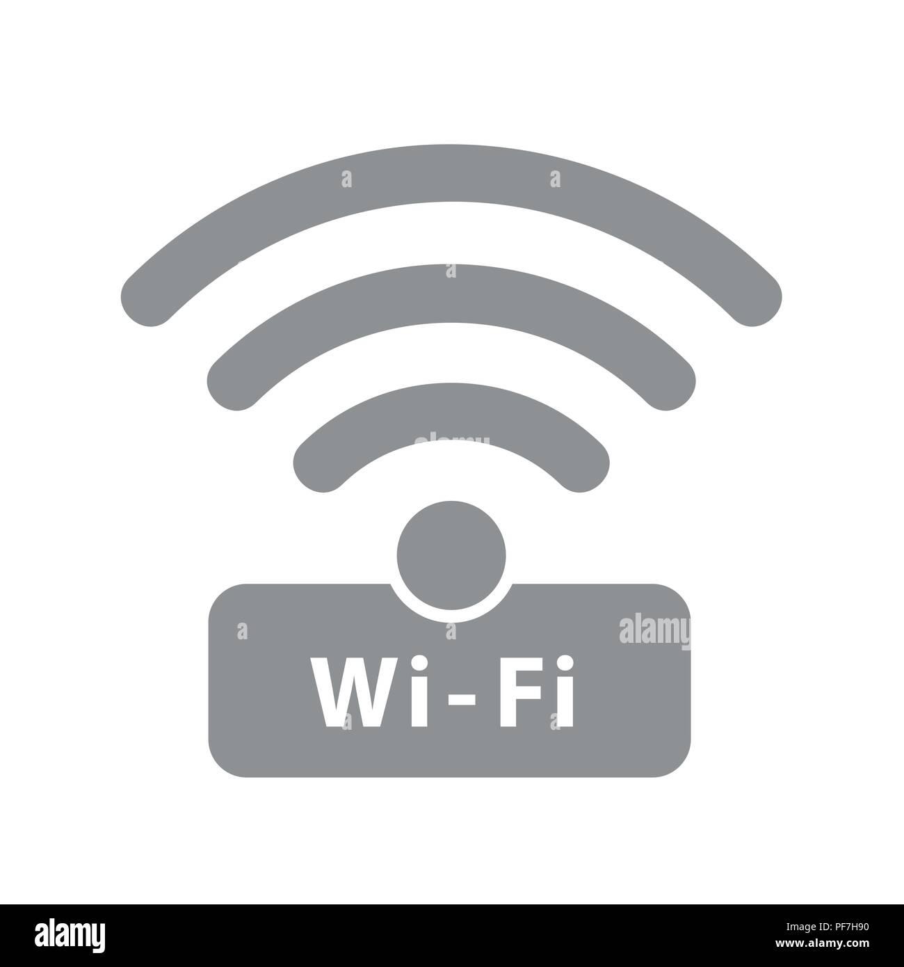 Conexión Wi-Fi gratuita símbolo gris ilustración vectorial EPS10 Imagen De Stock
