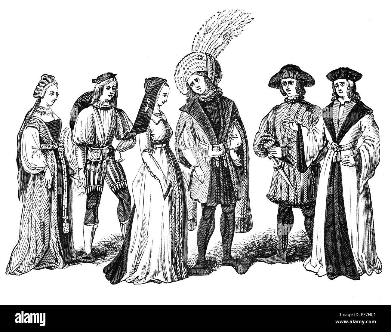 Moda para hombres y mujeres durante el reinado de Enrique VII. Él solía vestir para reforzar su reclamación al trono y proyectar un estado en los días después de la batalla de Bosworth. Ropa Tudor continuó evolucionando a medida que cambian las modas y las tendencias. Trajes de Tudor fueron diseñados para dar a las mujeres una forma triangular, mientras que la ropa del hombre les dio una forma casi cuadrada. En la corte, vestidos de mujeres generalmente consistido de un smock, Petticoat, kirtle, y partlet. Los hombres, por su parte, vestía una camiseta, jerkin, doublet, overgown y una manguera. Los hombres usualmente también llevaban gorras, adornadas con diversas joyas y plumas. Imagen De Stock