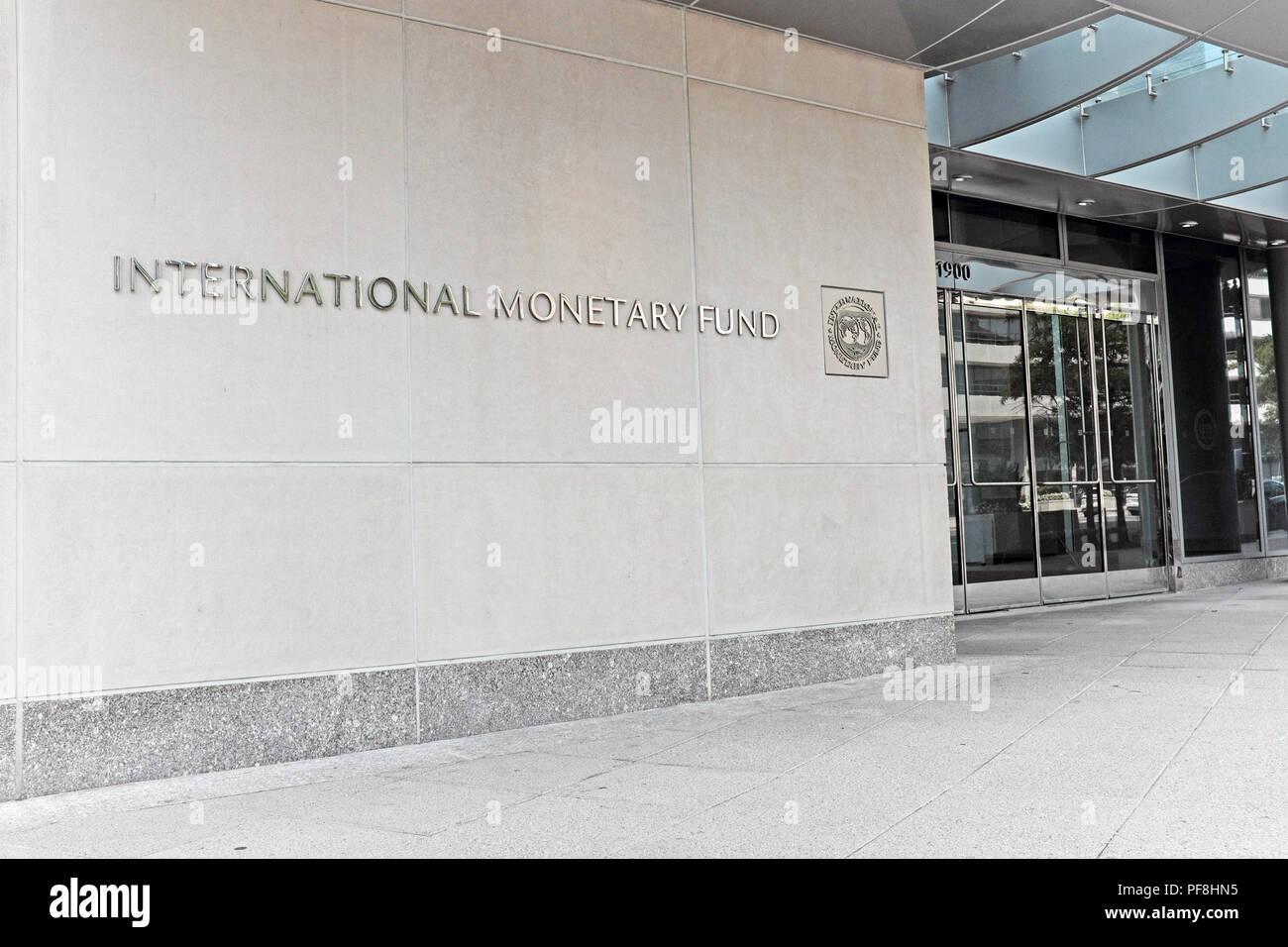 El Fondo Monetario Internacional (FMI) sede mundial en Washington, D.C., Estados Unidos. Foto de stock