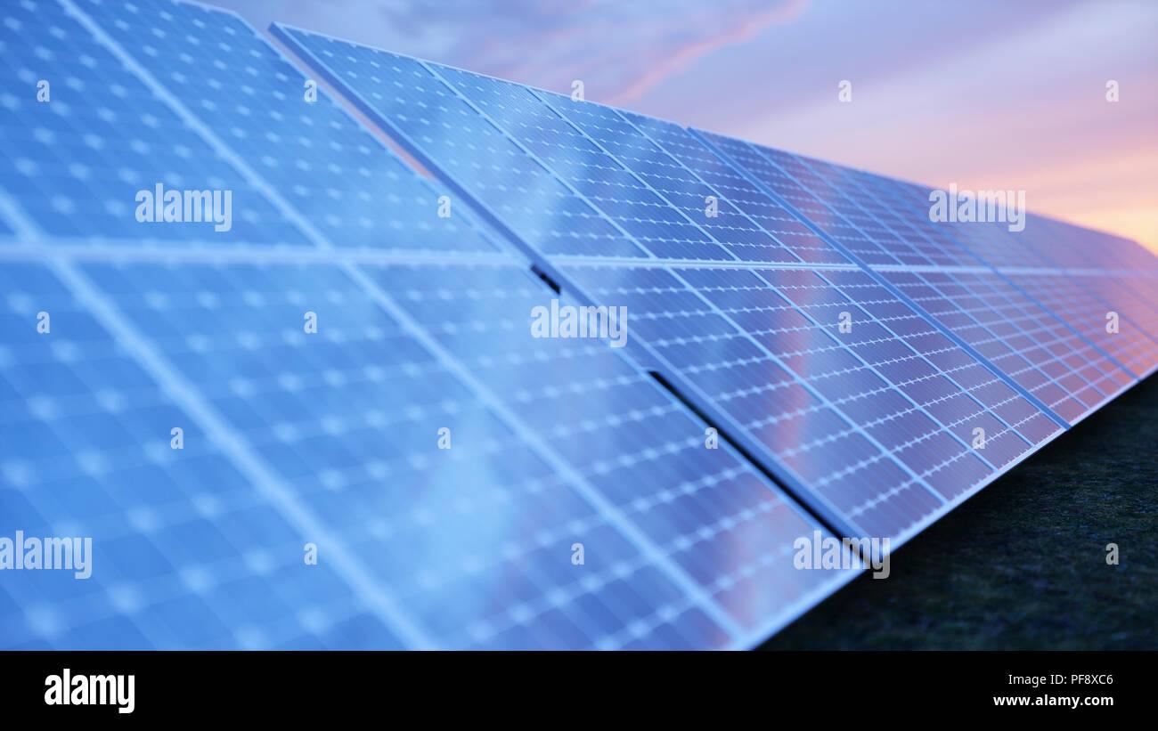 Ilustración 3d Tecnología De Generación De Energía Solar