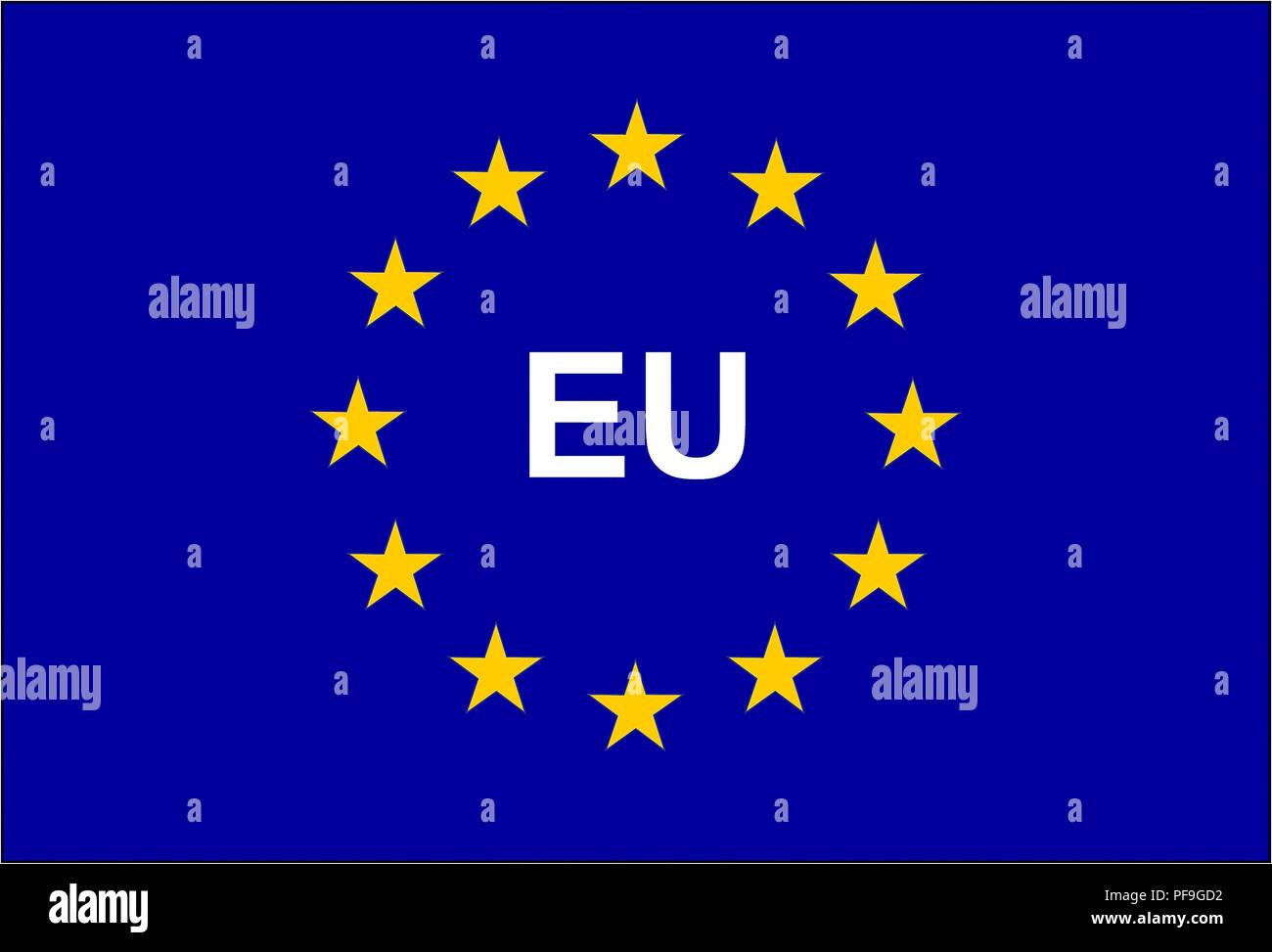 Símbolo de la bandera de la Unión Europea y la Unión Europea Imagen De Stock