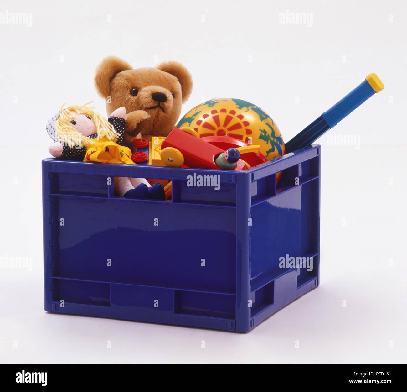 Caja Doll De Teddy BearRag AzulConteniendo Juguetes Plástico IWDEH29