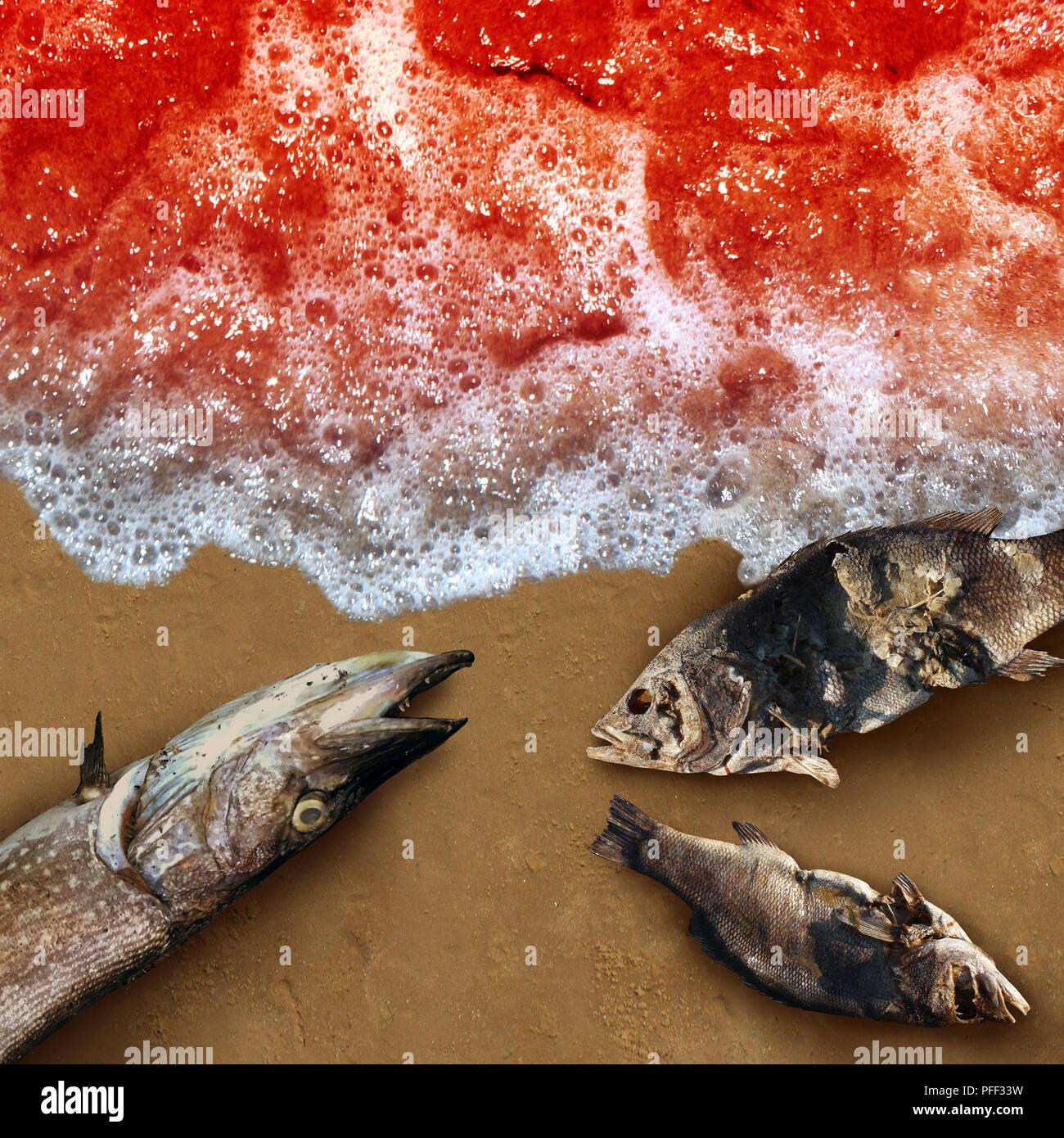 Las algas de la marea roja mortal toxina natural encontrado en el océano o mar como concepto de muerte la vida marina como conceptual en 3D de una ilustración de estilo. Imagen De Stock