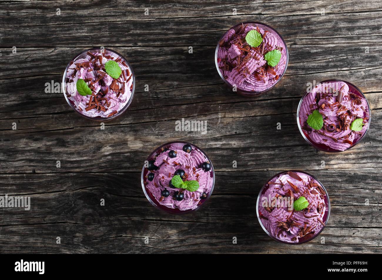 Postre de verano de grosella y congelados de ricotta Yogurtmousse espolvoreado con trocitos de chocolate picado finamente decorado con hojas de menta en tazas de vidrio Imagen De Stock