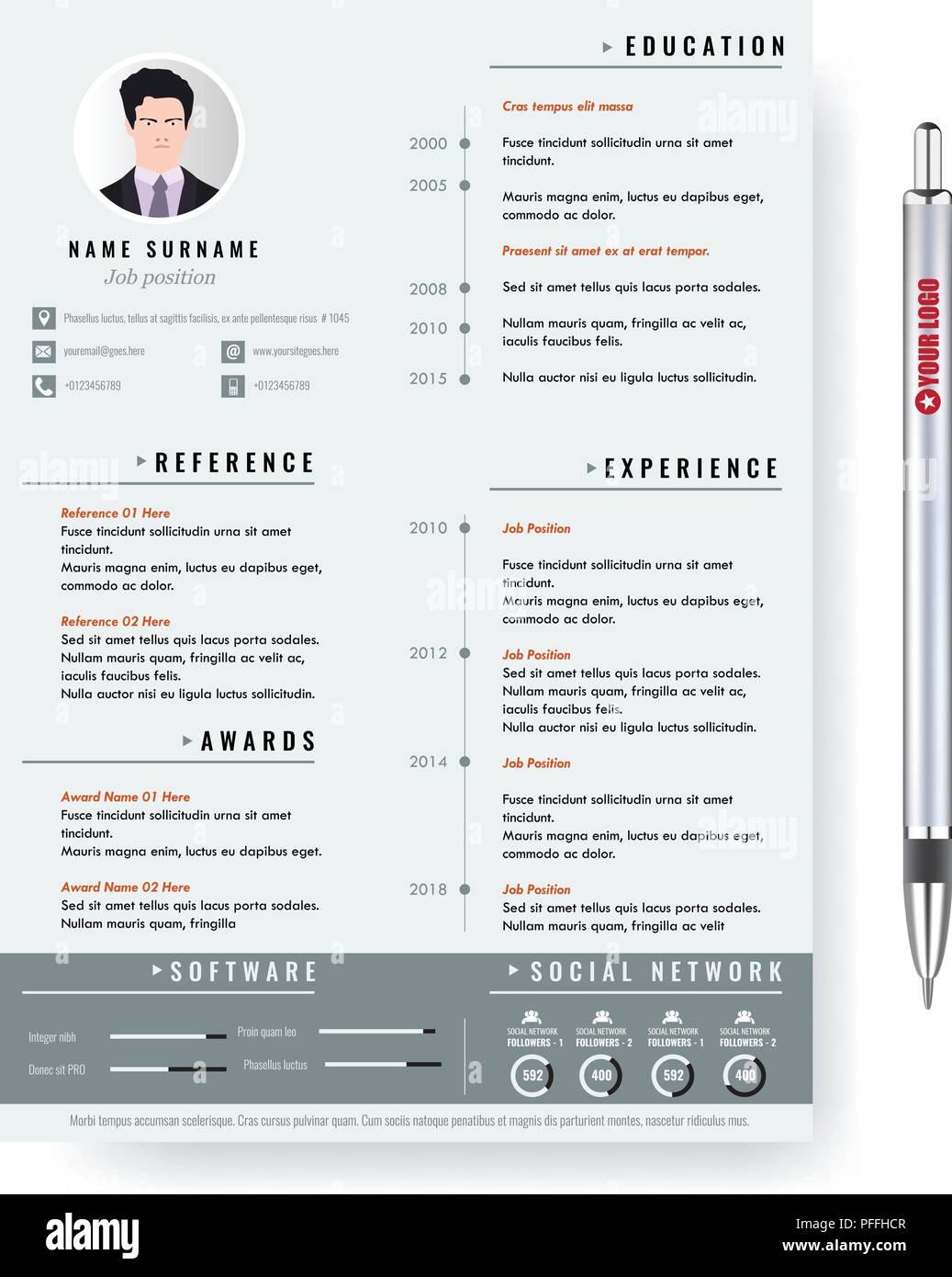 Resume Cv Curriculum Vitae Template Imágenes De Stock & Resume Cv ...