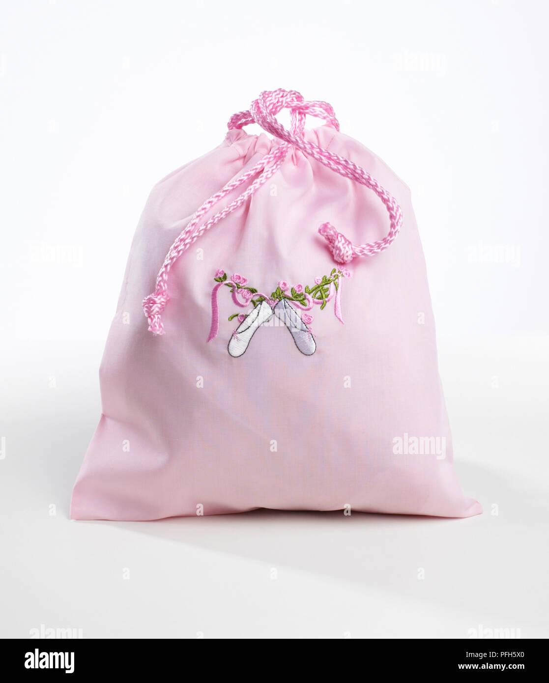 Bolsón con rosa ballet applique de zapata en la parte delantera Imagen De Stock