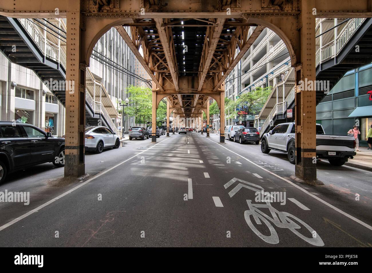 El centro de Chicago, el L elevada pistas en el Loop de Chicago, Chicago. Imagen De Stock