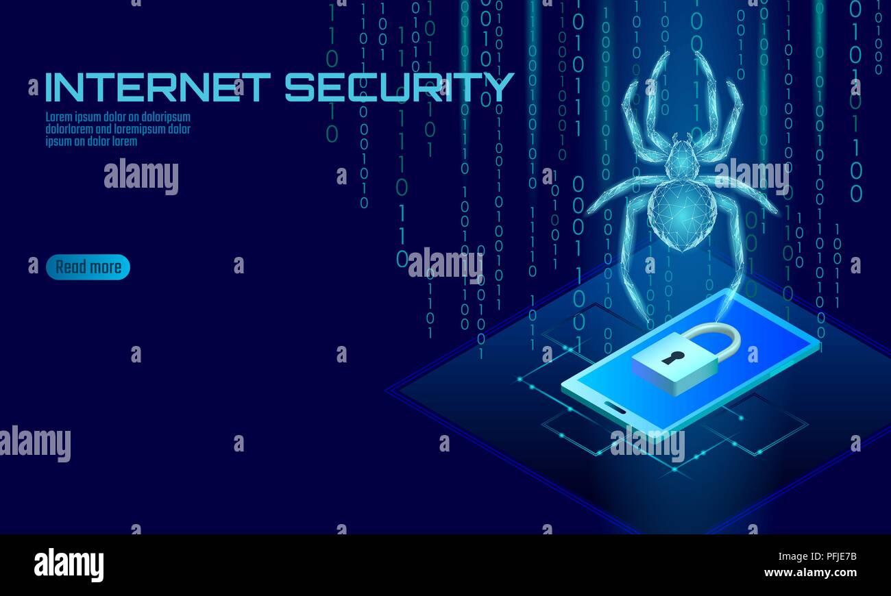 3D isométrica araña peligro de ataque de piratas informáticos. Seguridad de los datos de seguridad antivirus Web concepto de antivirus. Diseño de bloqueo del smartphone concepto empresarial. La delincuencia cibernética web bug insectos tecnología ilustración vectorial Imagen De Stock