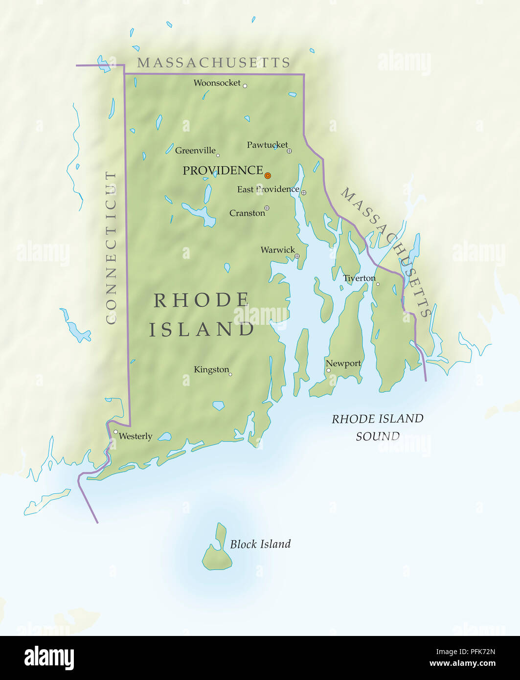 Mapa De Rhode Island Close Up Foto Imagen De Stock 216166909