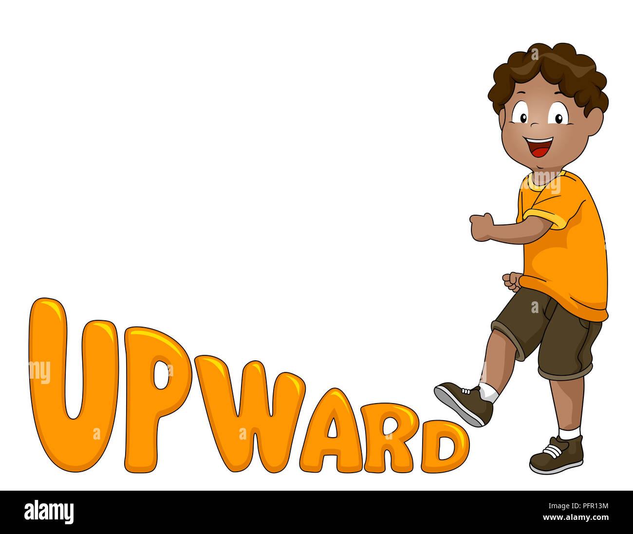 Ilustración de un niño chico Sube una palabra hacia arriba o letras Imagen De Stock