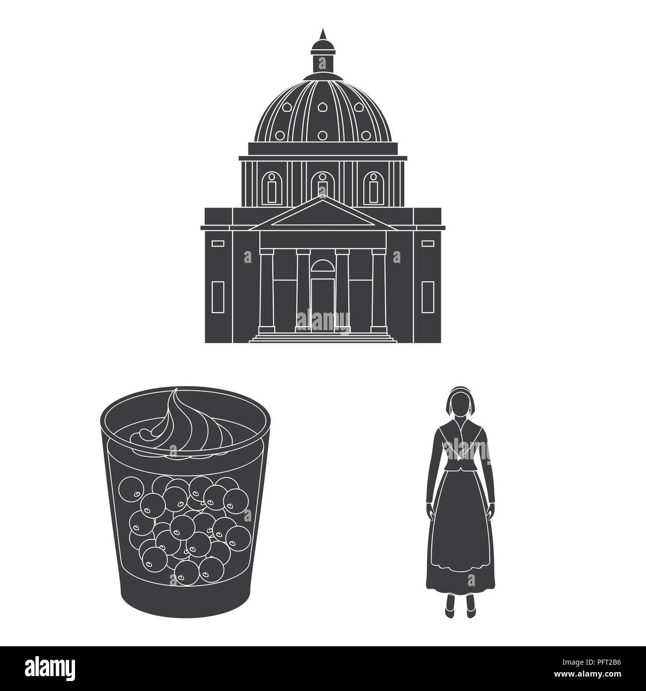 Viajar en Dinamarca iconos negros en conjunto para el diseño. Dinamarca y atracciones símbolo vector stock ilustración. Ilustración del Vector