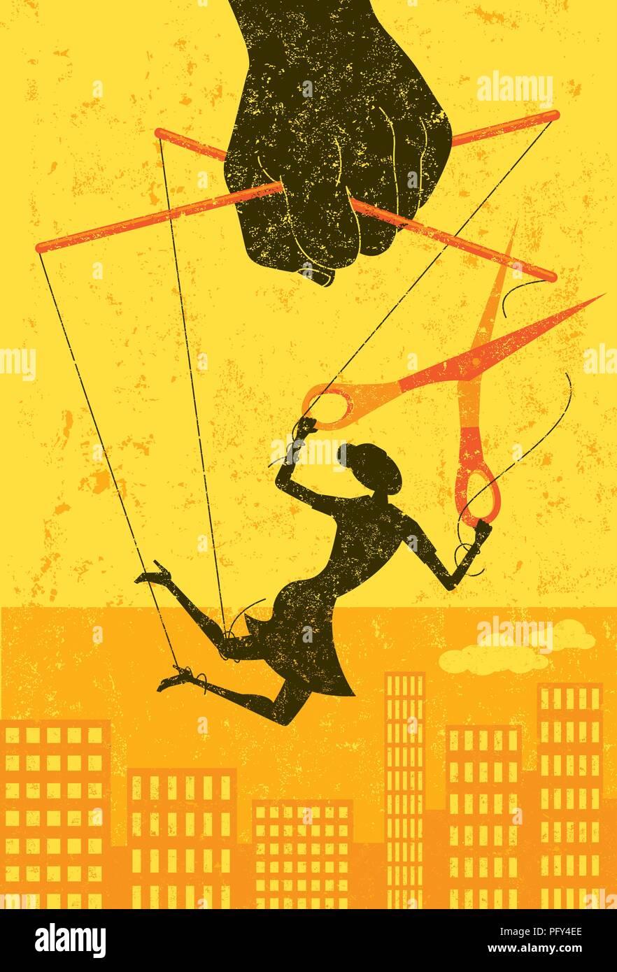 Escapar de un control de jefe. Una empresaria, retratado como un títere en una cadena, cortes a sí misma fuera de control manipuladora para ganar su libertad. Ilustración del Vector