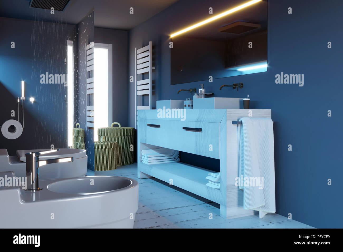 Cuarto de baño moderno, completo con accesorios sanitarios ...