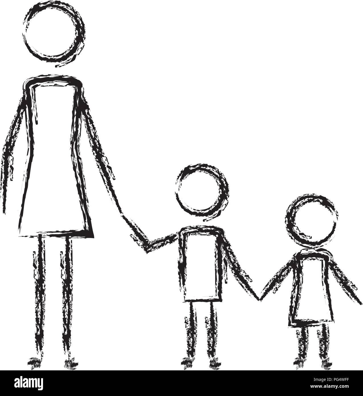 Madre Con Su Hijo E Hija Figuras Siluetas Ilustración Del Vector