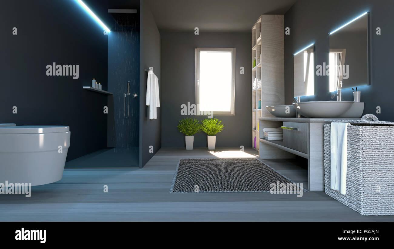 Cuarto de baño moderno, completo con accesorios sanitarios, ducha y ...