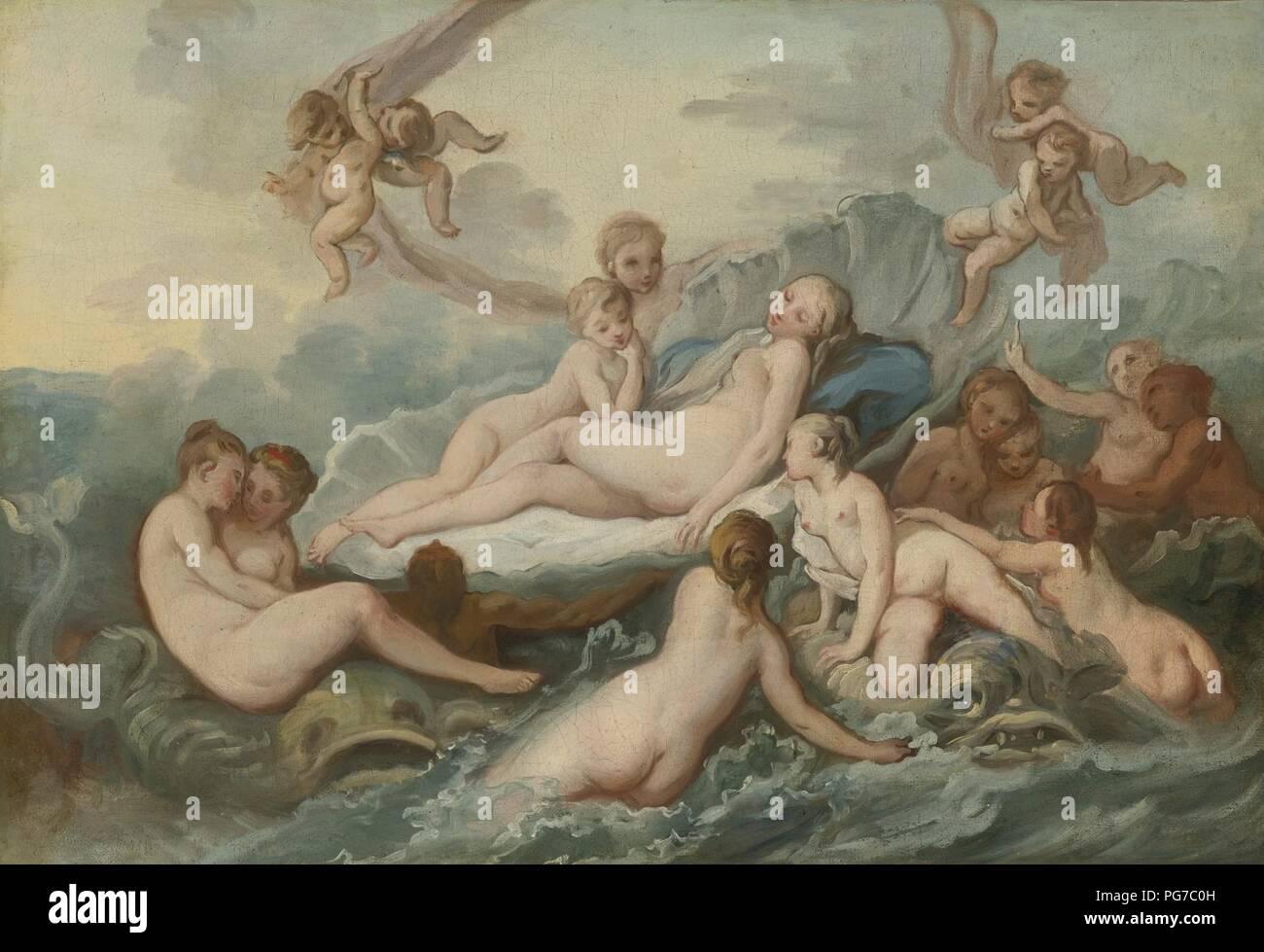 Atribuyó a Pierre-Charles Trémolières El Nacimiento de Venus. Foto de stock