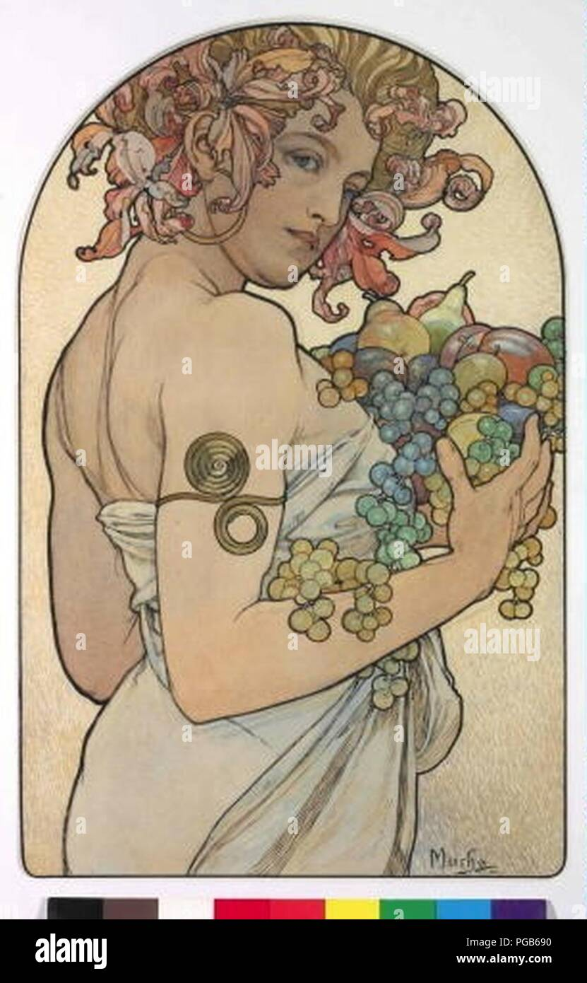 Autor Alfons Mucha 24.7.1860-14.7.1939 - Alegorie Podzimu. Foto de stock