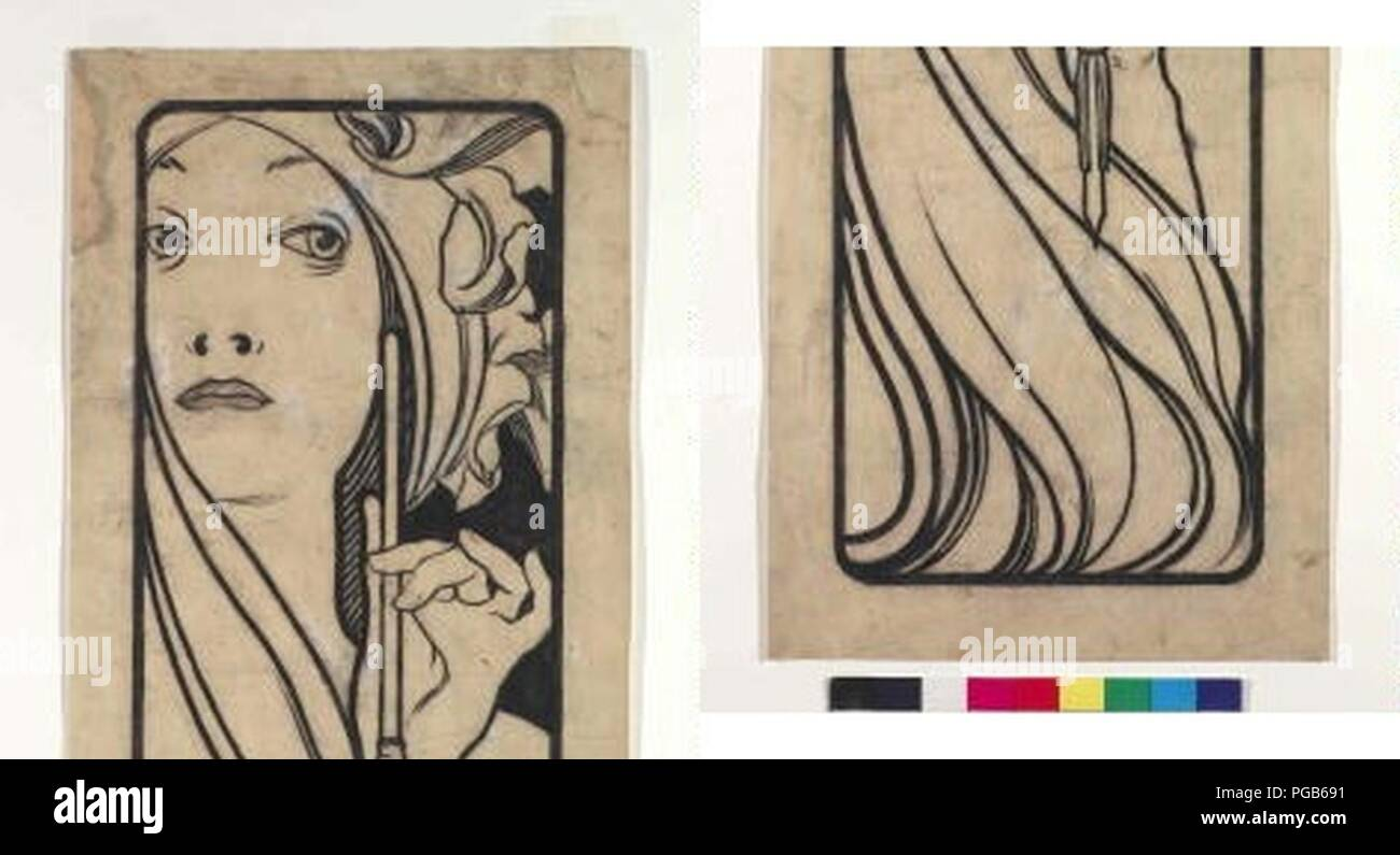 Autor Alfons Mucha 24.7.1860-14.7.1939 - Kresba pro obalku casopisu Lestampe moderne. Foto de stock