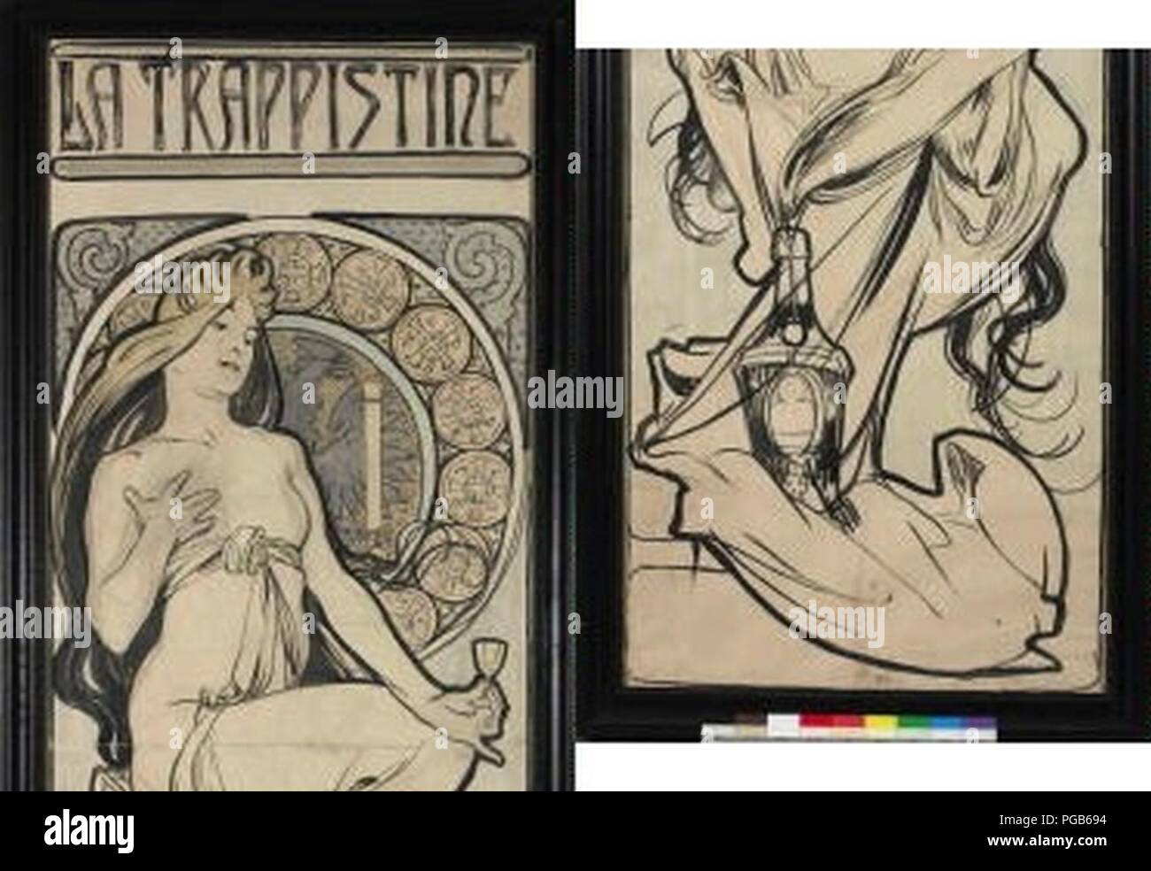 Autor Alfons Mucha 24.7.1860-14.7.1939 - La Trappistine - navrh na plakat. Foto de stock