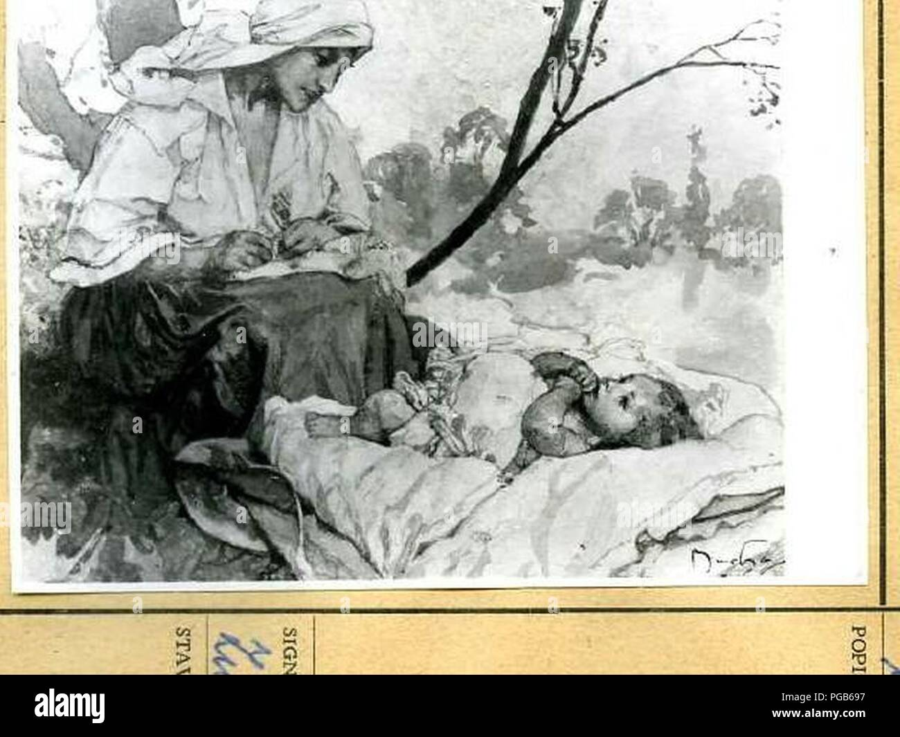Autor Alfons Mucha 24.7.1860-14.7.1939 - Matka sedici nad ditetem - ilustrace ke knize Slavia starostlivym matkam. Foto de stock