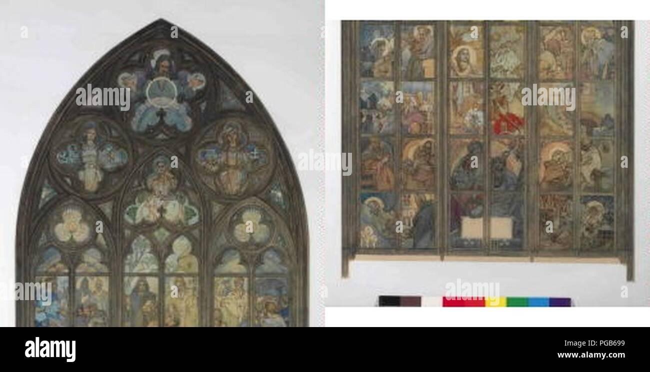 Autor Alfons Mucha 24.7.1860-14.7.1939 - Navrh na okno v katedrale sv. Vita v Praze. Foto de stock