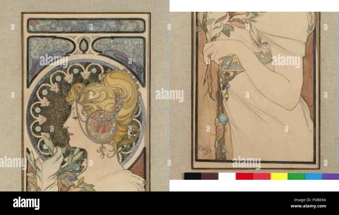 Autor Alfons Mucha 24.7.1860-14.7.1939 - Navrh na pano pero. Foto de stock