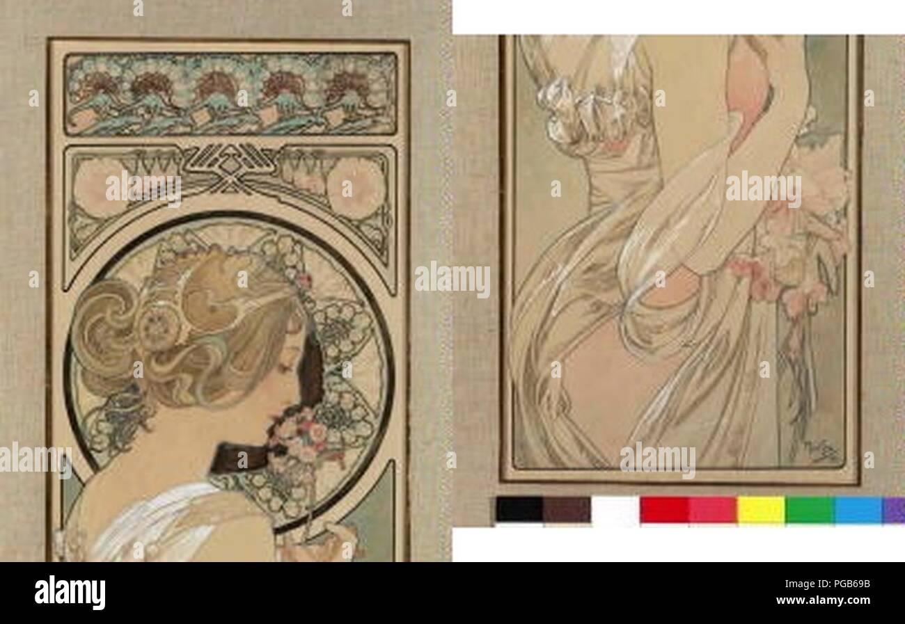 Autor Alfons Mucha 24.7.1860-14.7.1939 - pano Petrklic Navrh na. Foto de stock