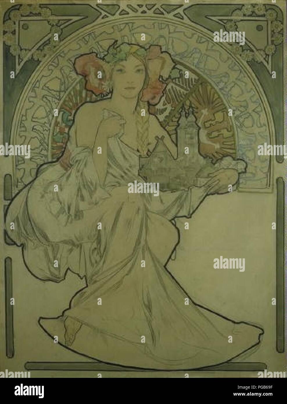 Autor Alfons Mucha 24.7.1860-14.7.1939 - Navrh na plakat pro Vystavu architektury un inzenyrstvi v Praze. Foto de stock