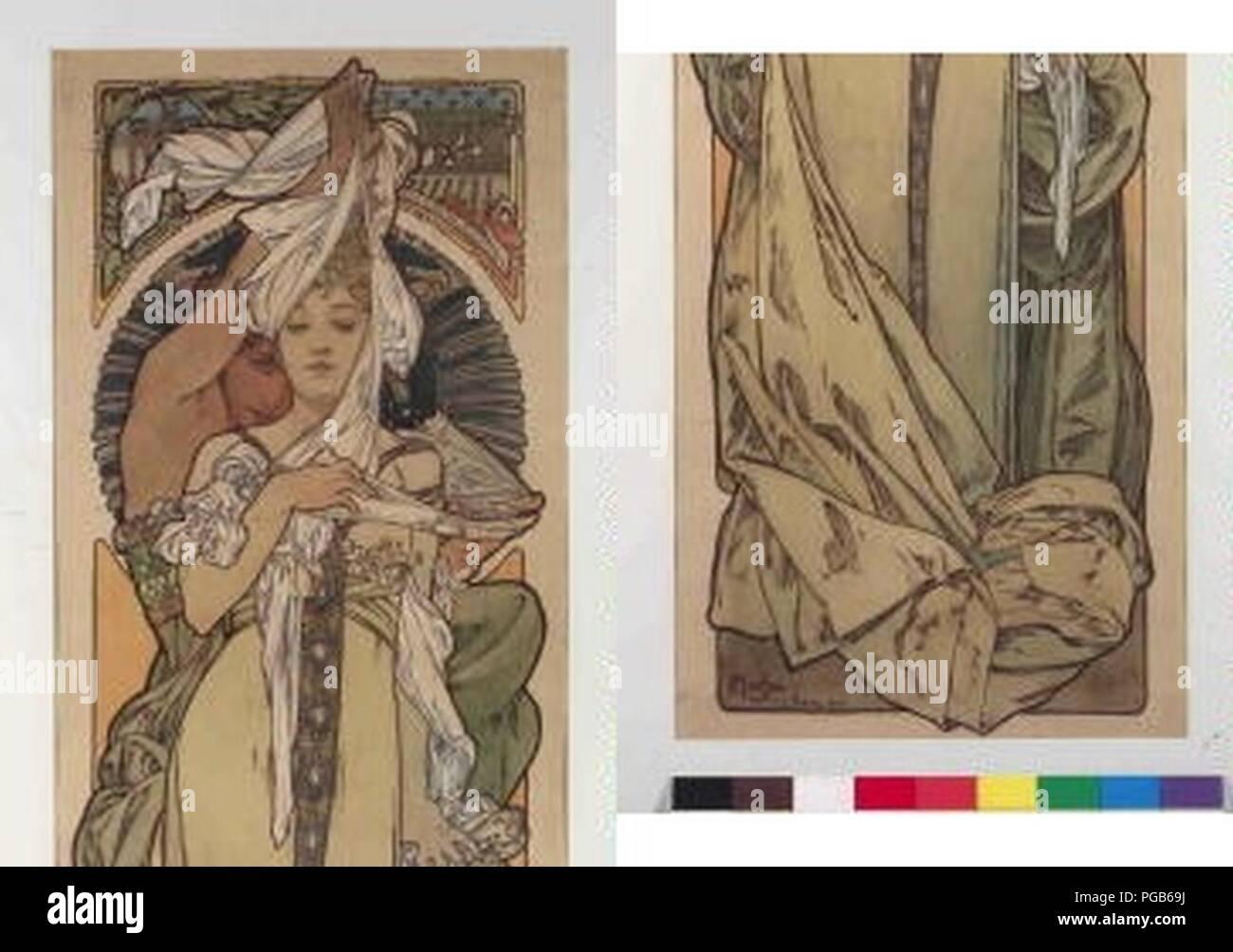 Autor Alfons Mucha 24.7.1860-14.7.1939 - Prava strana plakatu Fluctuat. Foto de stock