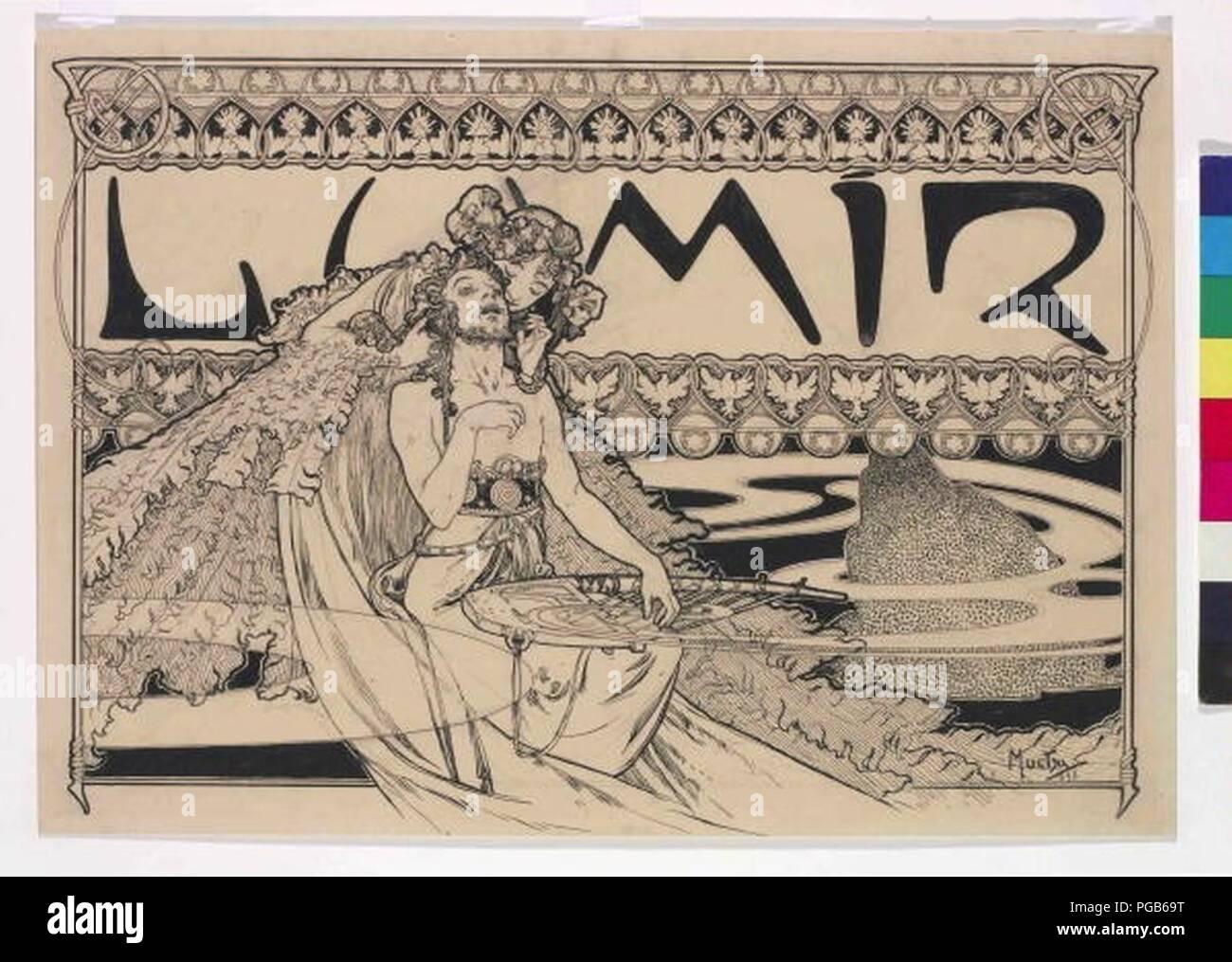 Autor Alfons Mucha 24.7.1860-14.7.1939 - Zahlavi casopisu Lumir. Foto de stock