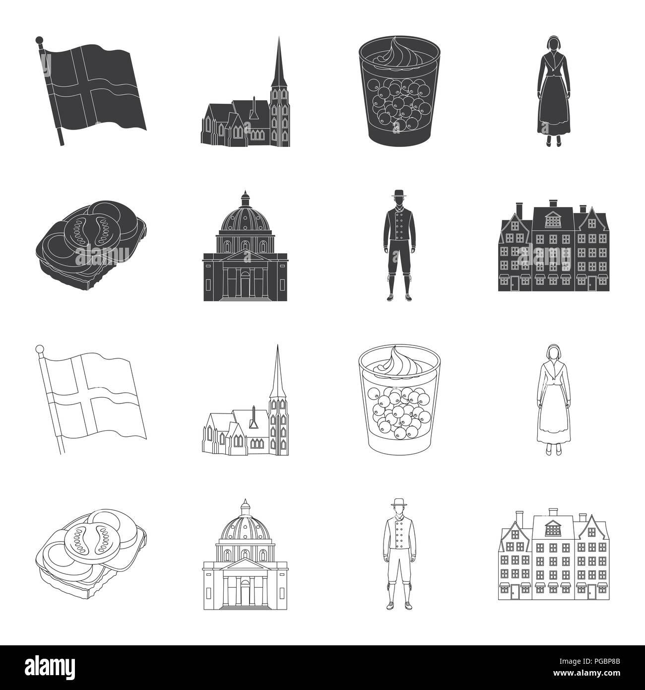Dinamarca, historia, restaurante y otro icono en color negro,el estilo de esquema.sándwich, comida, pan iconos en conjunto Ilustración del Vector