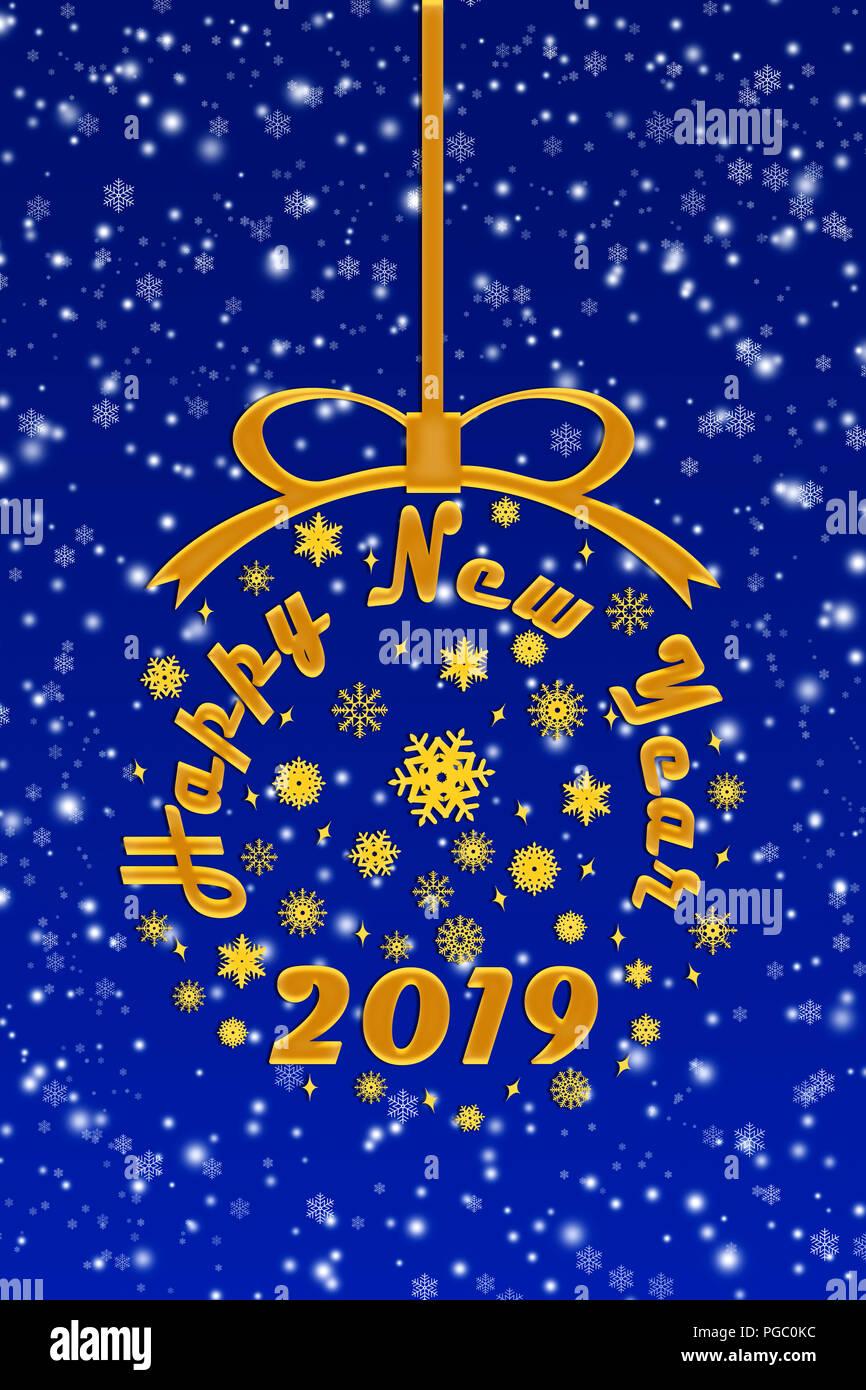 Felicitaciones Para Navidad 2019.Ilustracion Felicitaciones Para El Nuevo Ano 2019 Azul De