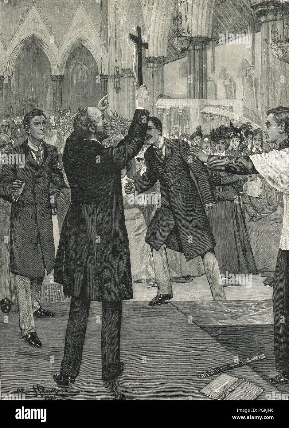 John Kensit protestando contra el ritualismo, vocalmente interrumpir el procedimiento en una iglesia de West End Imagen De Stock