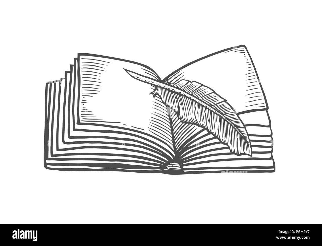 con la pluma de libro abierto aislado sobre fondo blanco vector vintage negro grabado ilustracin dibujar a mano en un estilo grfico