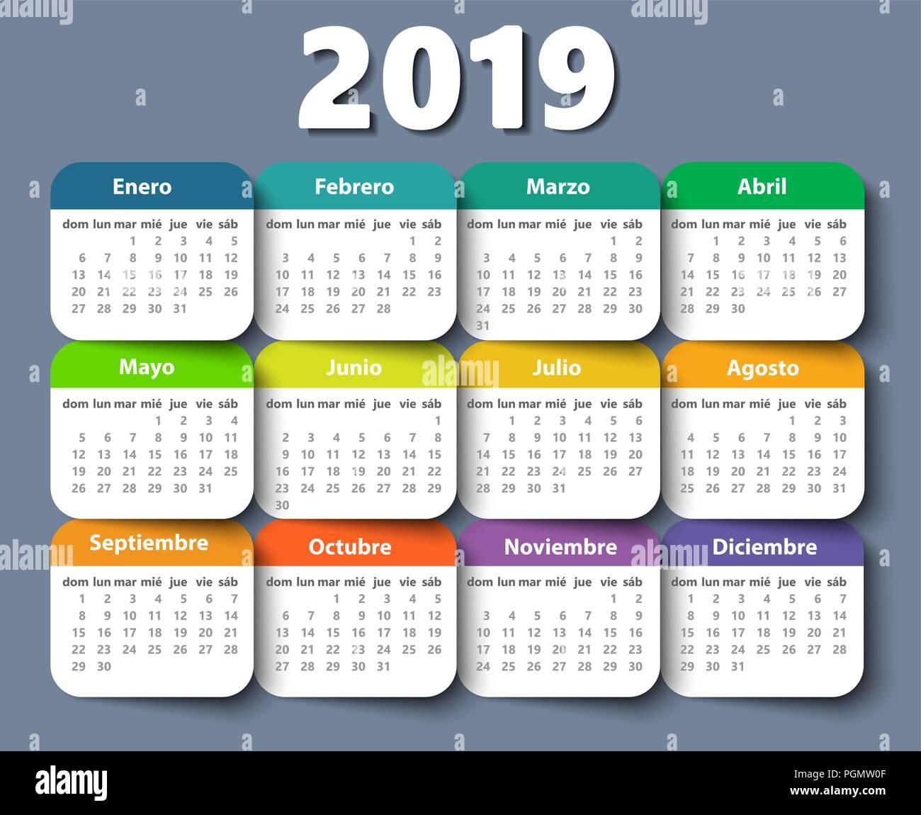 Calendario 2018 Plantilla De Diseño Vectorial En Español