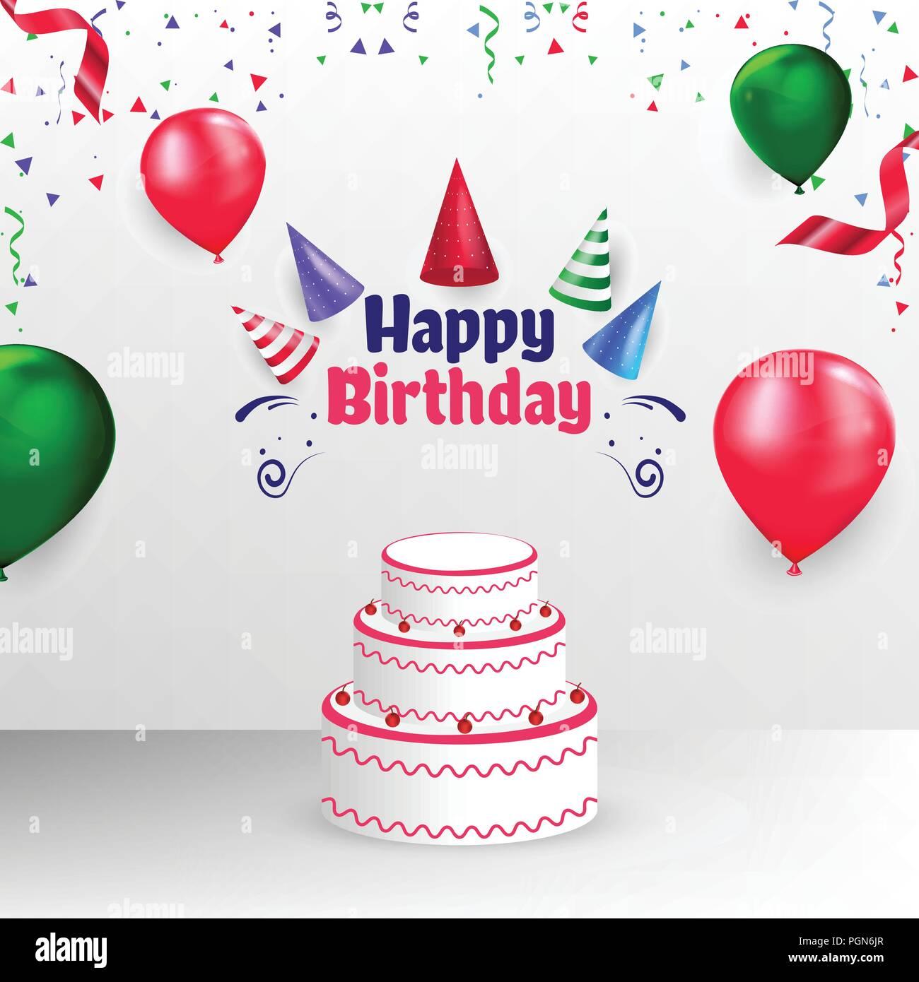 Feliz Cumpleaños Banner Poster Plantilla vectorial Diseño de cubierta Imagen De Stock