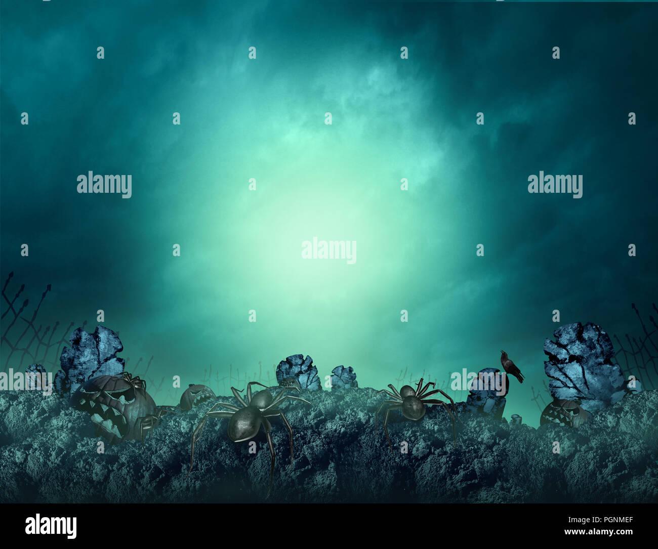 Cementerio embrujada y espeluznantes cementerios Scary Halloween y espeluznante fondo brillante con copyspace para texto con elementos de ilustración 3D. Imagen De Stock