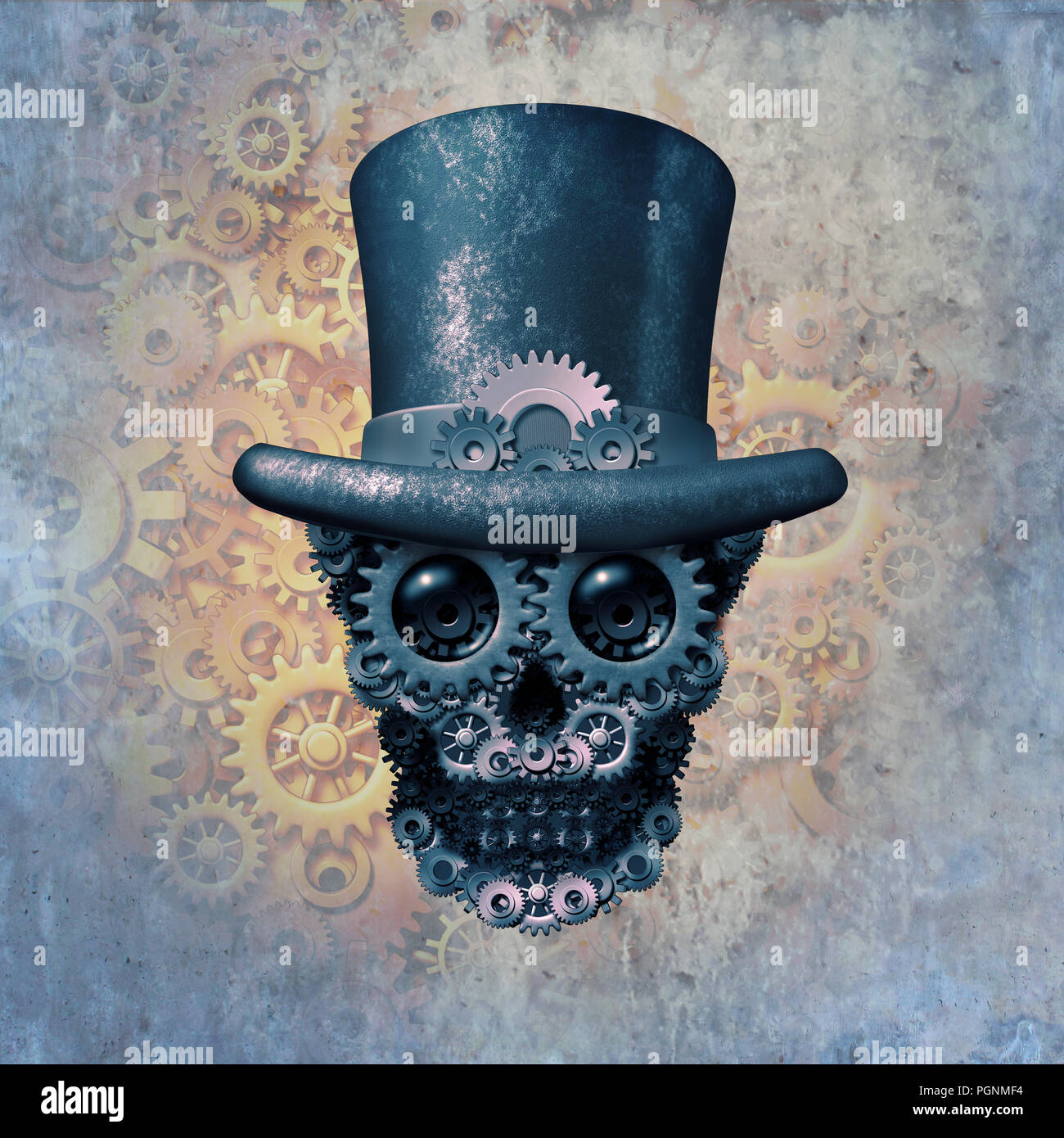 Concepto de cráneo steampunk o steam punk de ciencia ficción fantasía histórica con un grupo de engranajes y dientes con forma de cabeza de un esqueleto. Imagen De Stock