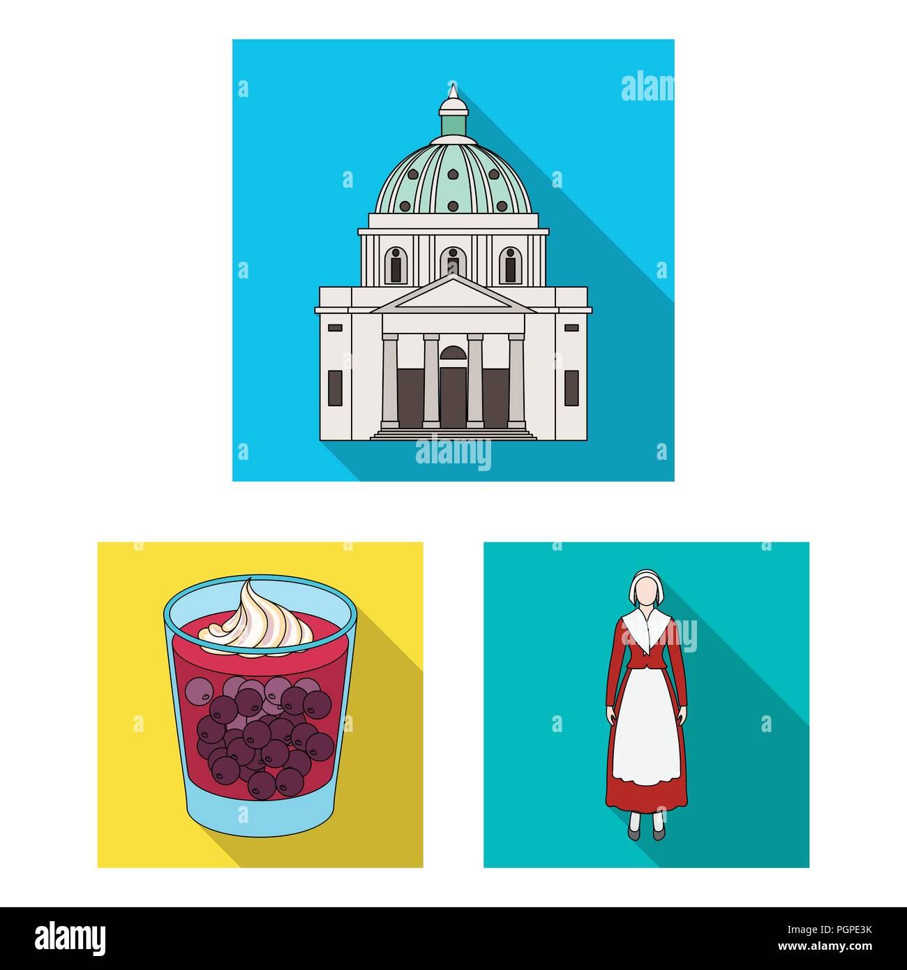 Viajar en Dinamarca iconos planas en conjunto para el diseño. Dinamarca y atracciones símbolo vector stock ilustración. Ilustración del Vector