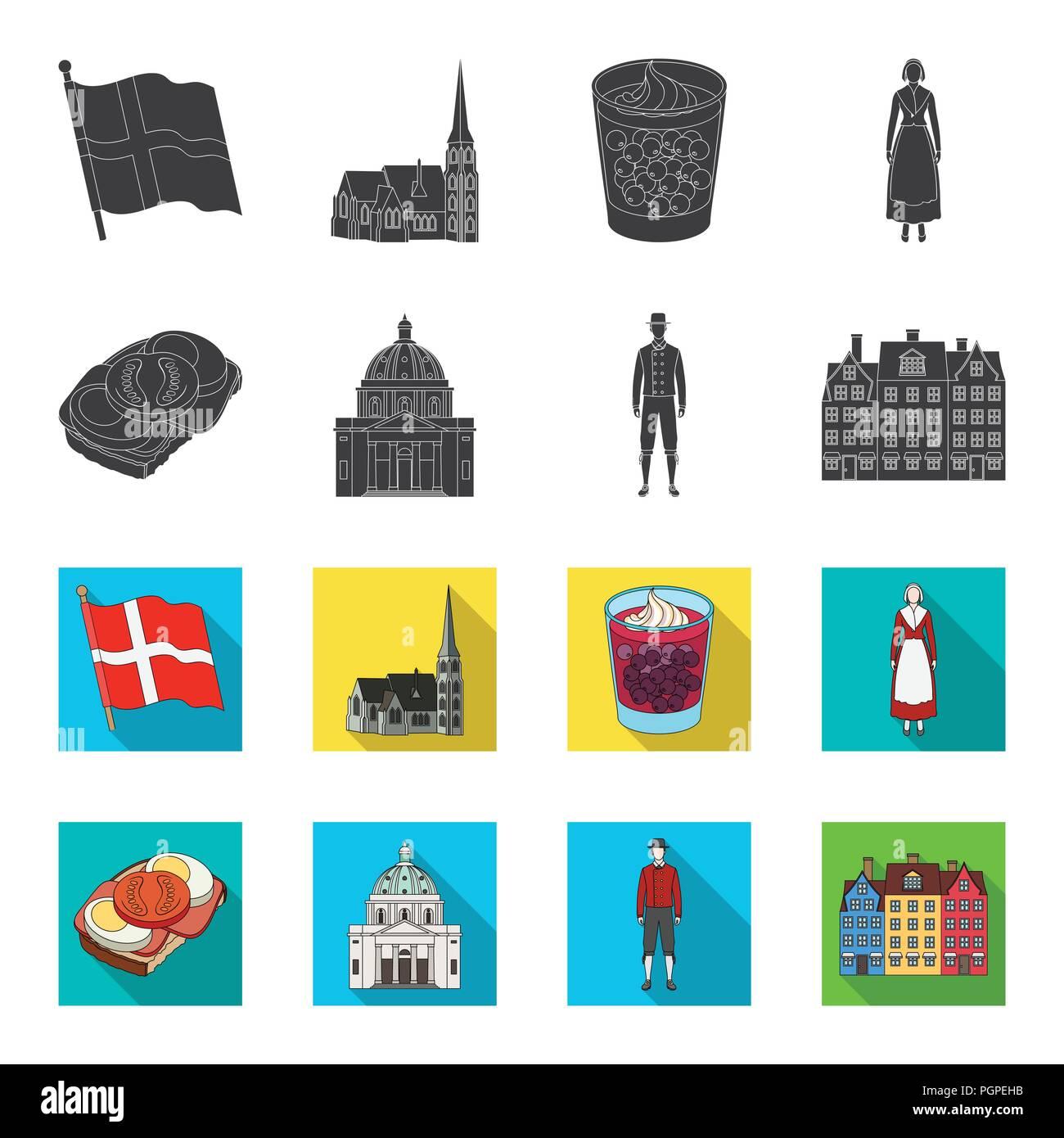 Dinamarca, historia, restaurante y otro icono en negro,flet style.sándwich, comida, pan iconos en conjunto Ilustración del Vector