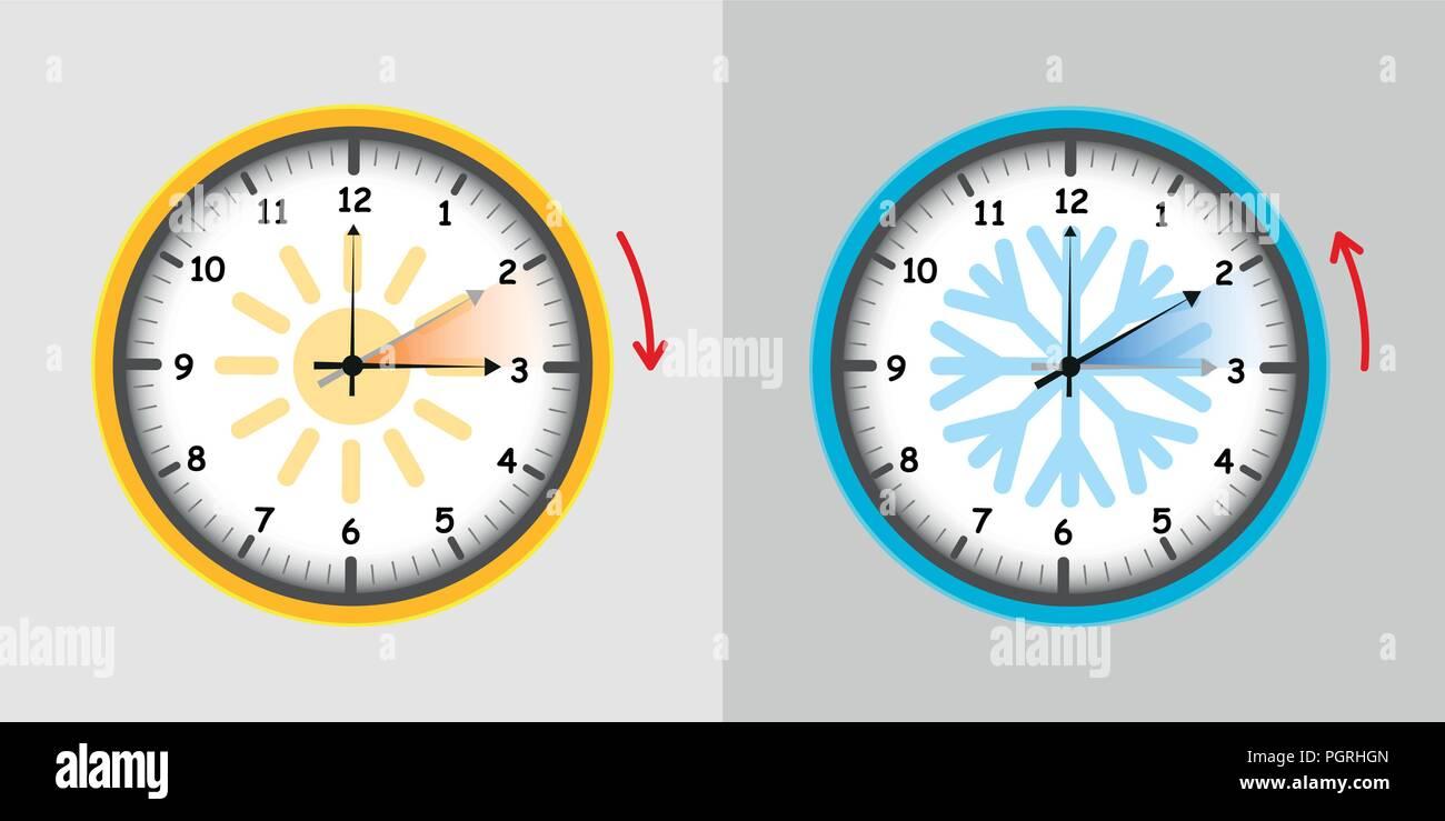 Interruptor del reloj de verano e invierno ilustración vectorial EPS10 Imagen De Stock