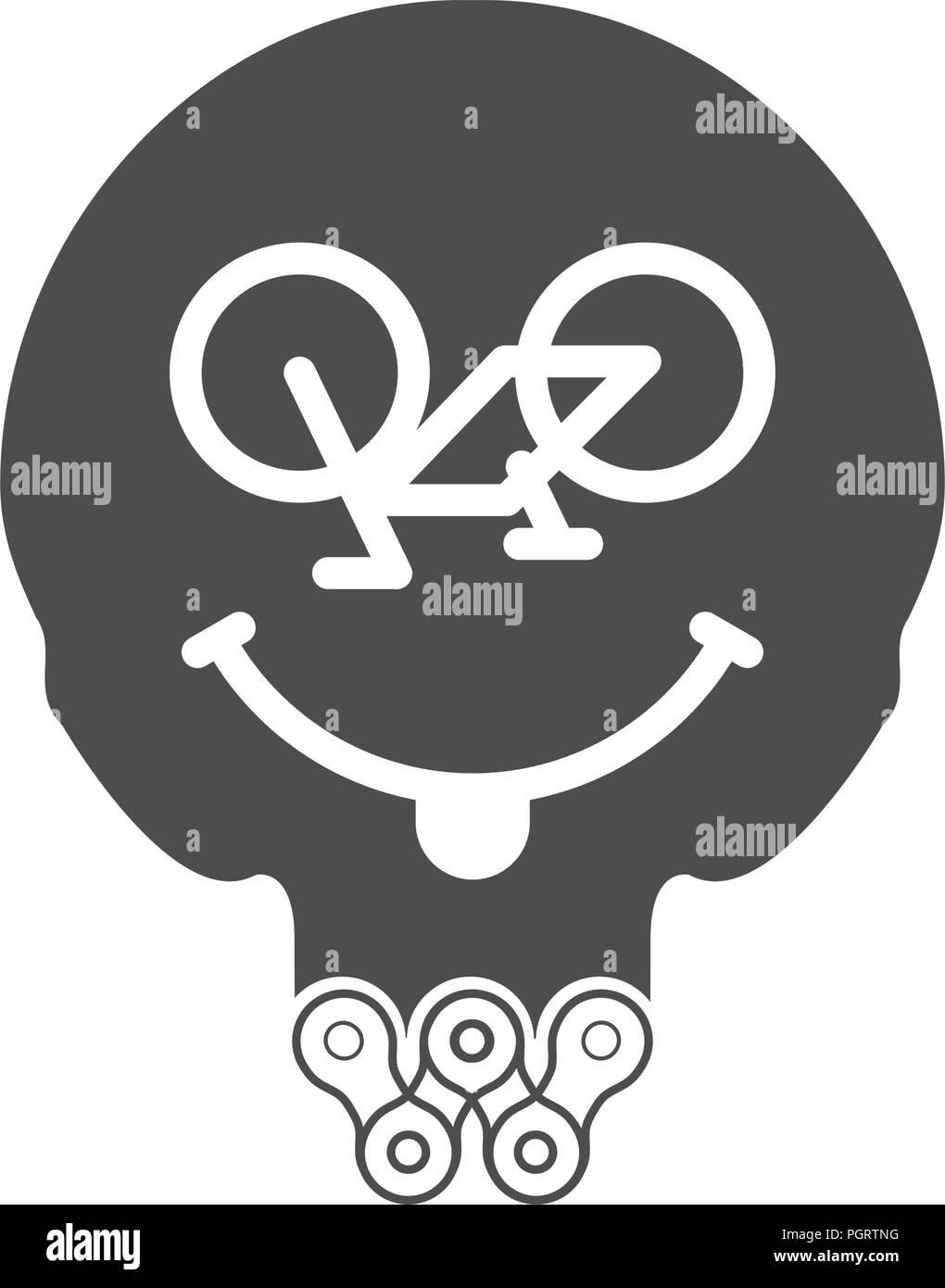 Ciclismo sonrisa, positiva o Sonriente Cara Sonriente. Icono de vector de cráneo con barba de bicicleta o cadena de bicicleta. T-shirt de impresión monocromo. Ilustración del Vector