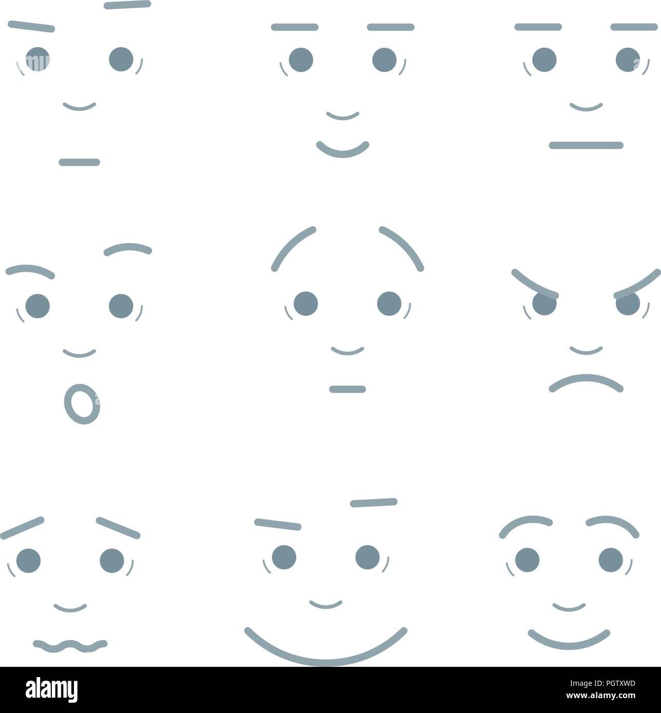 Ilustración Vectorial De Dibujos Animados Expresiones