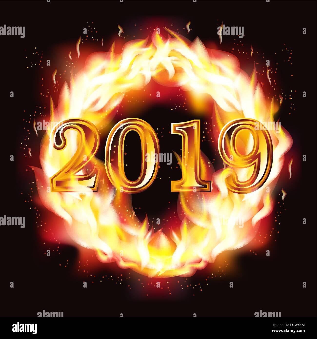 Feliz Año Nuevo 2019 Tarjeta De Invitación De Fuego