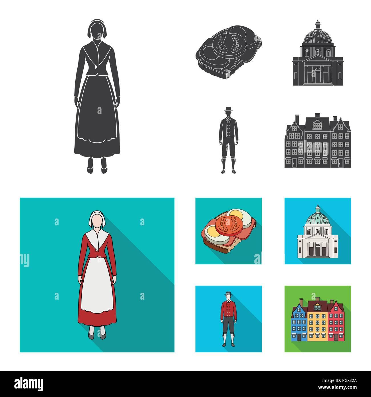 Dinamarca, historia, restaurante y otro icono en color negro, estilo plano.sándwich, comida, pan iconos en conjunto Ilustración del Vector