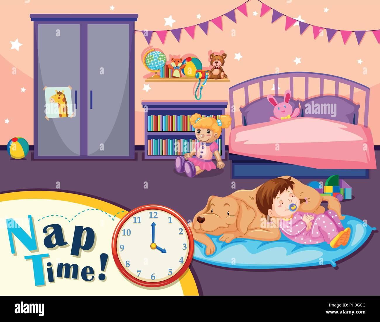La hora de la siesta joven escena ilustración Imagen De Stock