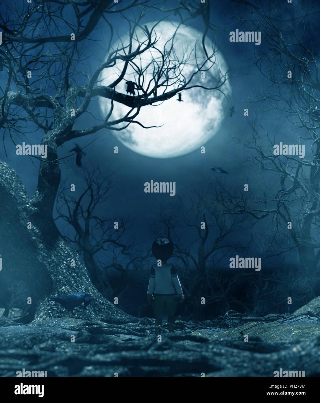 Muchacho caminando solos en la noche bajo la luz de la luna,chico perdido en el bosque maldito,3D rendering para la portada del libro o la ilustración de libros Imagen De Stock