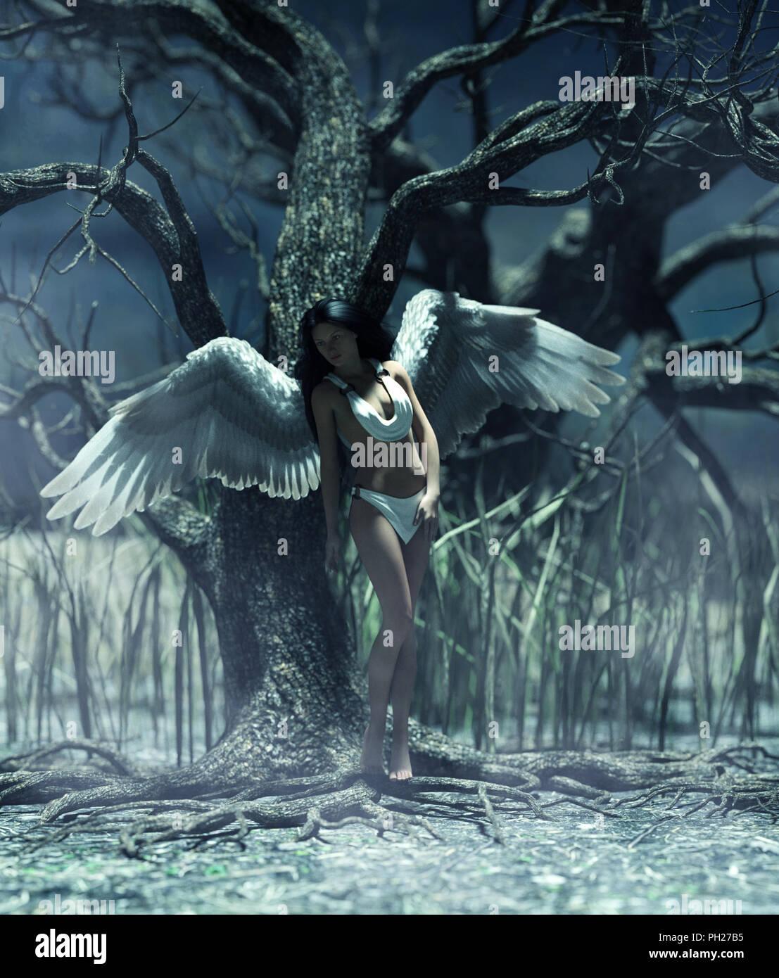 Un ángel en el bosque místico,3d ilustración para la ilustración de libros o portada del libro. Imagen De Stock