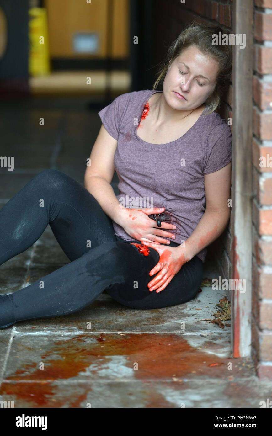 Maqueta de una puñalada víctima en una puerta Imagen De Stock