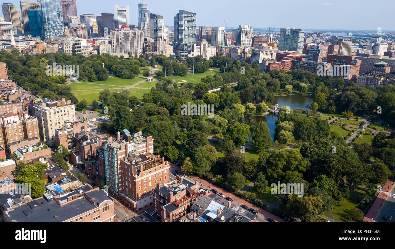 Boston Public Garden y Boston Common, Boston, MA, EE.UU. Imagen De Stock